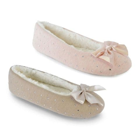 Ladies Diamond Jersey Marl Ballet Slippers with Bow Model Number: FT1147A